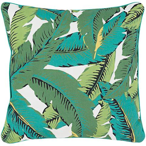 "Surya Ulani Tropical Leaves 16"" Square Decorative Pillow"