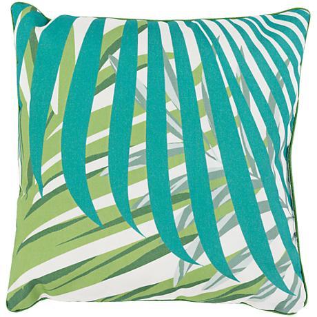 "Surya Ulani Green Leaves 16"" Square Decorative Pillow"