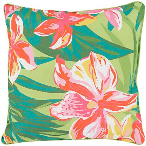 """Surya Ulani Large Flowers 16"""" Square Indoor-Outdoor Pillow"""