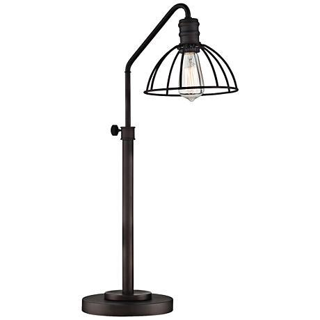 Lite Source Gaius Bronze Industrial Cage Desk Lamp