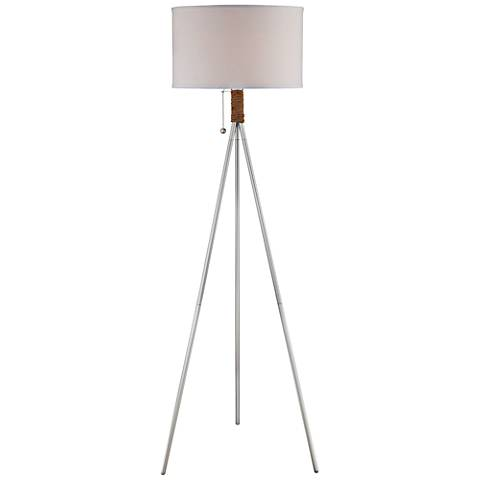 Lite Source Trixie Silver Metal Tripod Floor Lamp