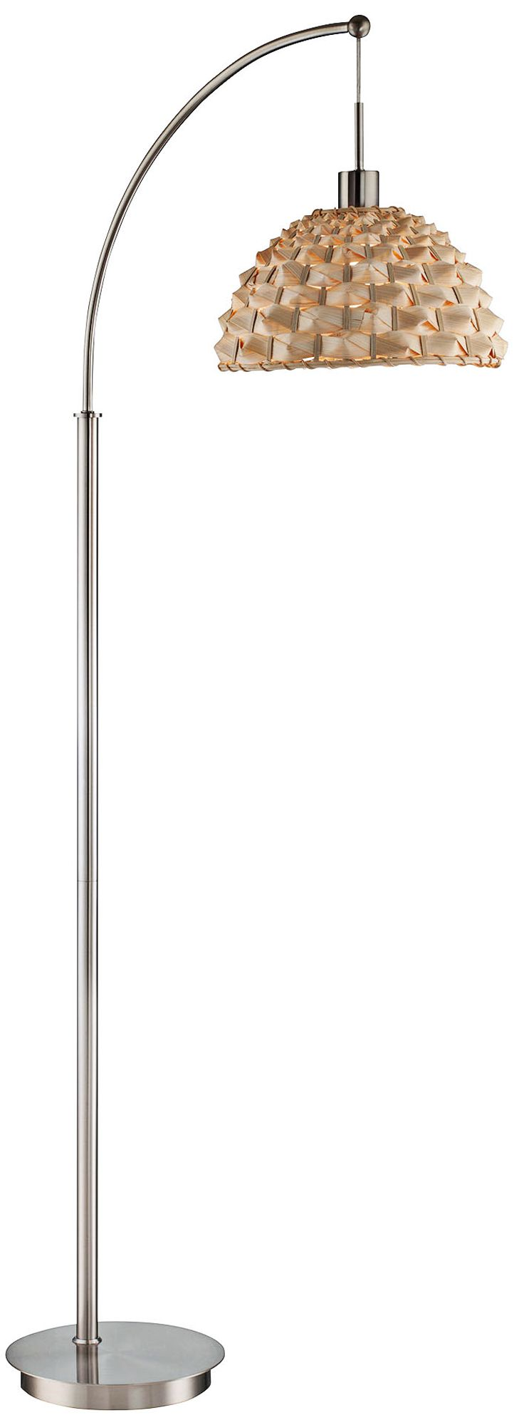lite source winston polished steel and bamboo arc floor lamp - Arc Floor Lamps