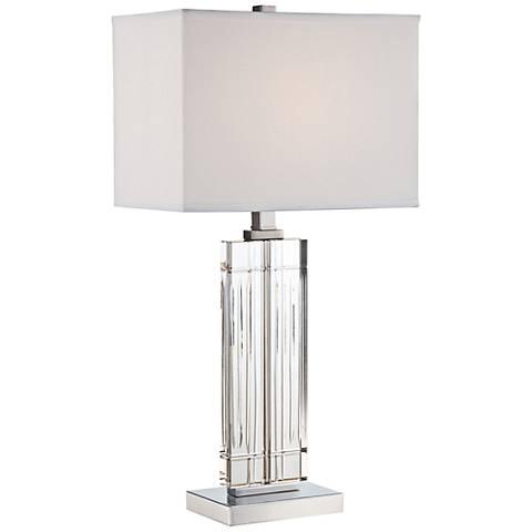 lite source chrome crystal table lamp 1y354 lamps plus. Black Bedroom Furniture Sets. Home Design Ideas