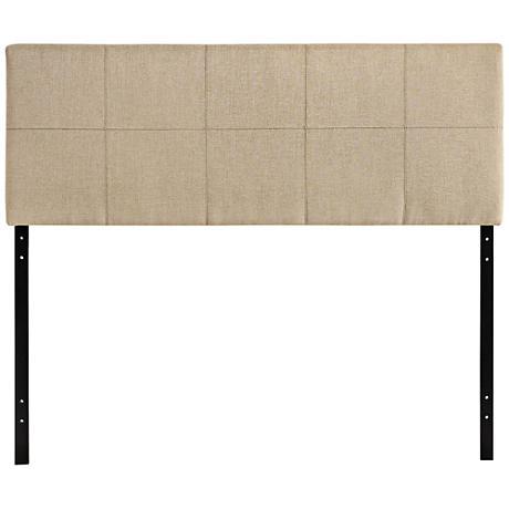 Oliver Beige 10-Square Stitched Full Fabric Headboard