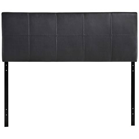 Oliver Black 10-Square Stitch Full Faux Leather Headboard