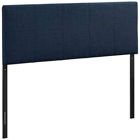 Oliver Navy 10-Square Stitched Fabric Headboard