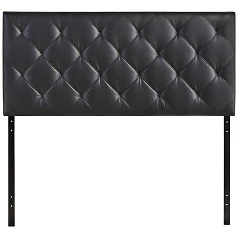 Theodore Black Faux Leather Tufted Fabric Headboard