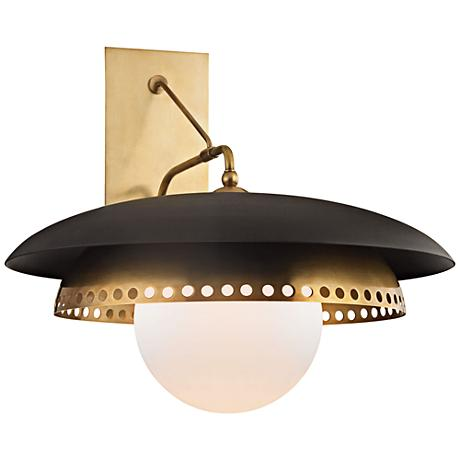 """Herkimer 17""""H Aged Brass with Black Wall Sconce"""