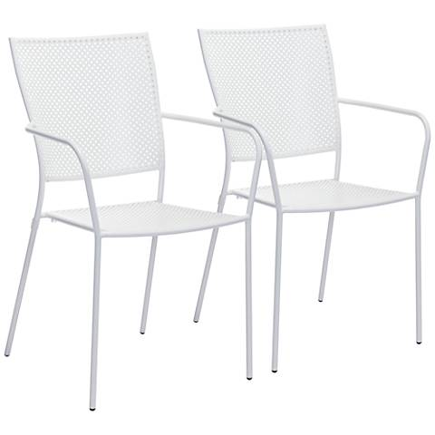 Zuo Pom White Outdoor Dining Chair Set of 2