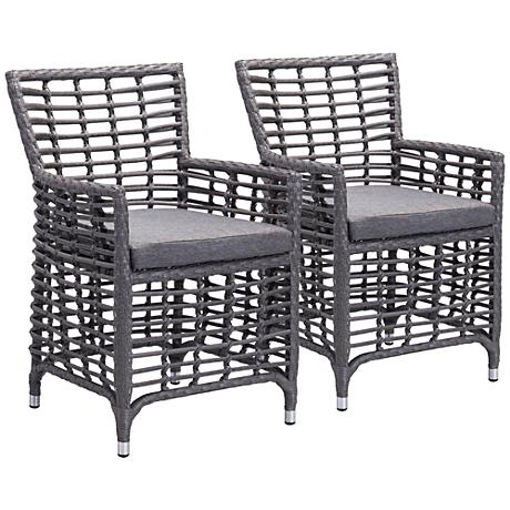Zuo Sandbanks Gray Outdoor Dining Chair Set of 2