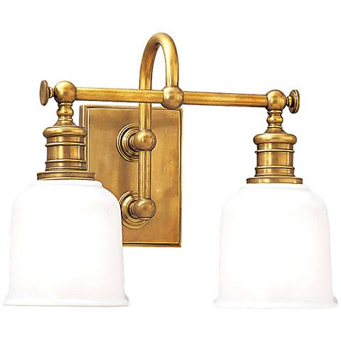 "Hudson Valley Keswick 13 1/2""W Aged Brass Two-Light Sconce"
