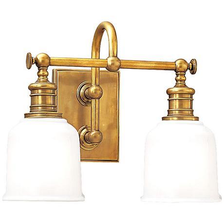 "Hudson Valley Keswick 13 1/2""W Aged Brass Two-Light Sconce"