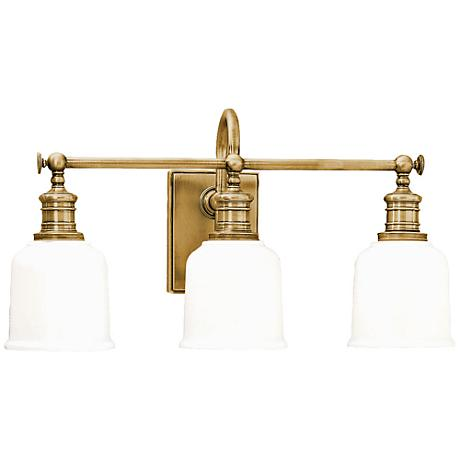 "Hudson Valley Keswick 21"" Wide Aged Brass Bath Light"