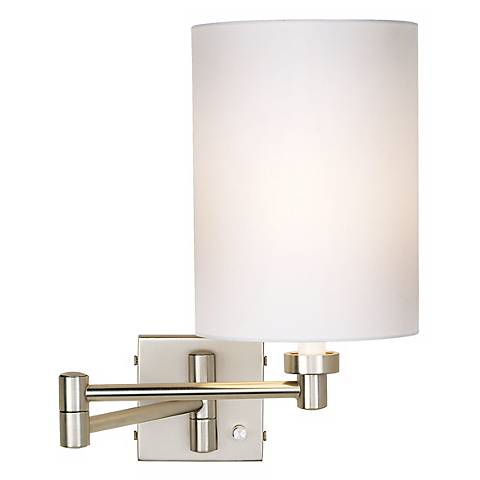 White Wall Lamp Shades : Brushed Steel White Cylinder Shade Plug-In Swing Arm Wall Lamp - #20762-00107 Lamps Plus