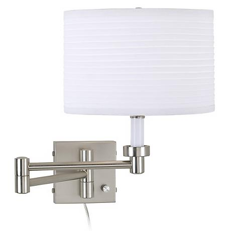 Brushed Steel Plug-In Swing Arm Wall Lamp