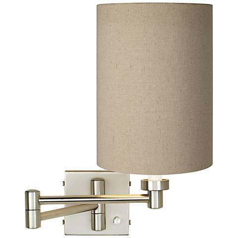 Tan Cylinder - Brushed Steel Plug-In Swing Arm Wall Lamp