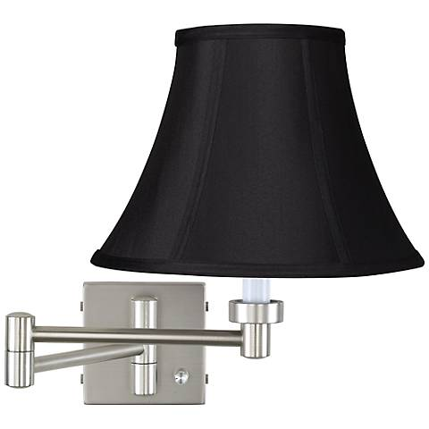 Brushed Steel Black Stretch Shade Plug-In Swing Arm Wall Lamp