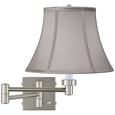 Pewter Gray Bell Brushed Steel Swing Arm Wall Lamp