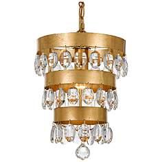 Crystorama Perla 10 W Antique Gold Crystal Mini Chandelier