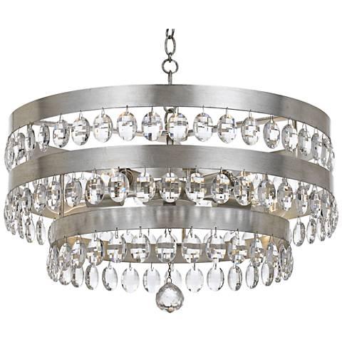 "Crystorama Perla 21 3/4""W Antique Silver Crystal Chandelier"