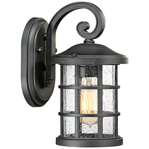 "Quoizel Crusade 11"" High Earth Black Outdoor Wall Light"