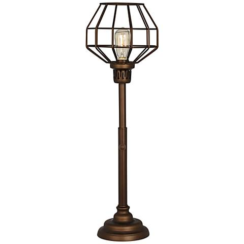 Malthus Uplight Oil Bronze Industrial Cage Console Lamp