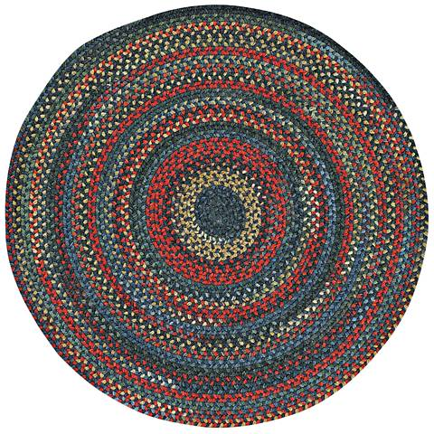 Capel High Rock 0103CS475 Round Blue Braided Area Rug