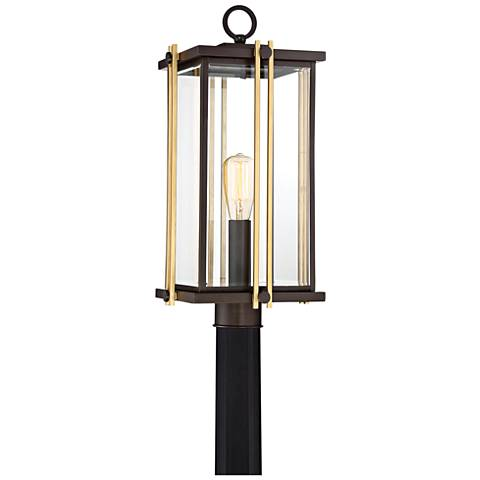 "Quoizel Goldenrod 21 1/2""W Western Bronze Outdoor Post Light"