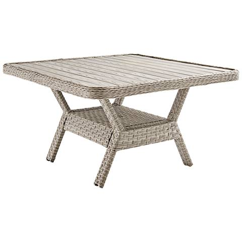 Springfield Wood Top and Pebble Wicker Outdoor Dining Chat Table