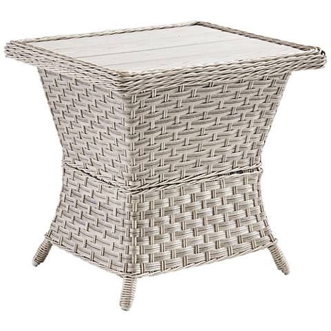 Springfield Wood Top and Pebble Wicker Outdoor End Table