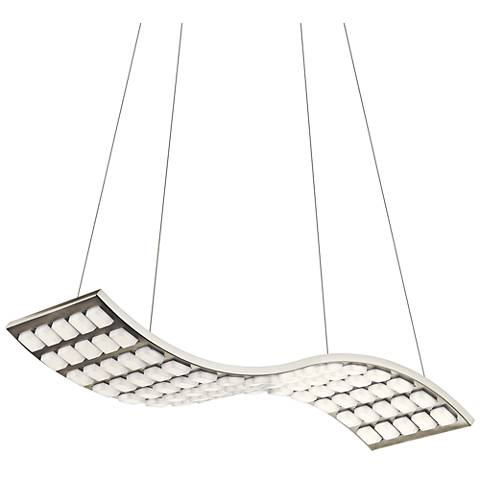 "Elan Cubic Wave 27"" Wide Brushed Nickel LED Pendant Light"