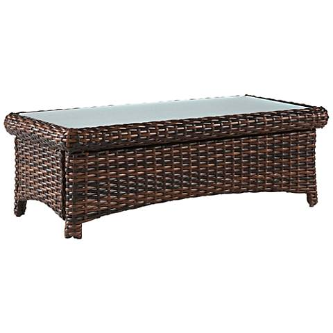 Isla Verde Glass Top and Espresso Wicker Outdoor Coffee Table