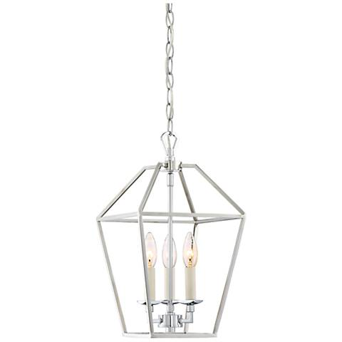 "Quoizel Aviary 9 1/2""W Nickel 3-Light Steel Cage Chandelier"