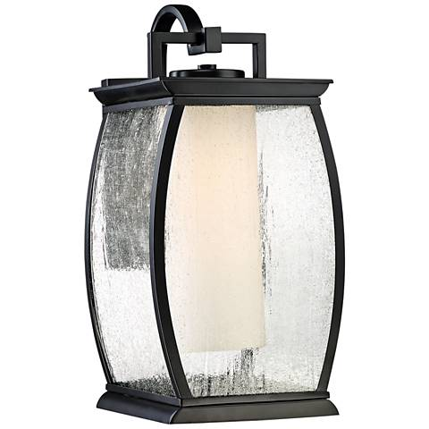 "Quoizel Terrace 17"" High Mystic Black Outdoor Wall Light"