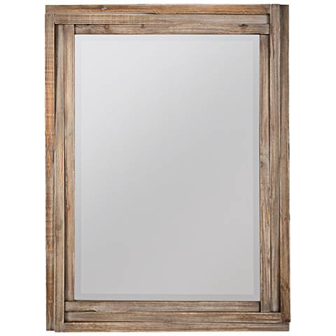 "Cayden Reclaimed Wood 30"" x 40"" Wall Mirror"