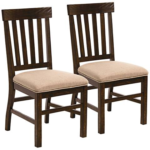 St. Claire Dark Wood Beige Upholsted Dining Chairs Set of 2
