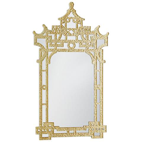 "Chinoiserie Gold Leaf 29 1/4"" x 52"" Wall Mirror"