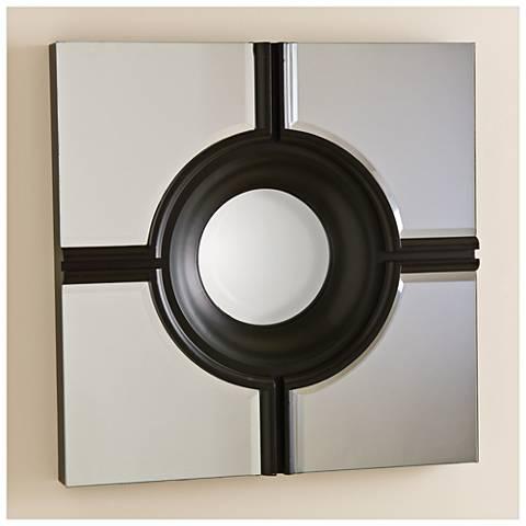 "Bull's Eye Cross Black 24"" Square Wall Mirror"