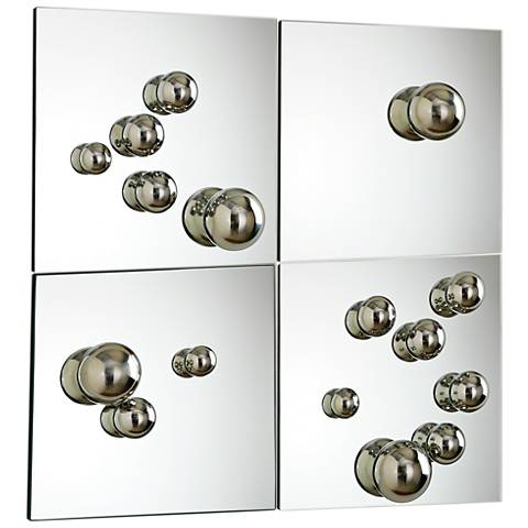 """Sphere Glass 4-Piece 12"""" Square Wall Mirror Set"""
