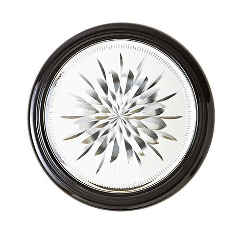 "Star Cut Black Cerused Oak 15"" Round Small Wall Mirror"