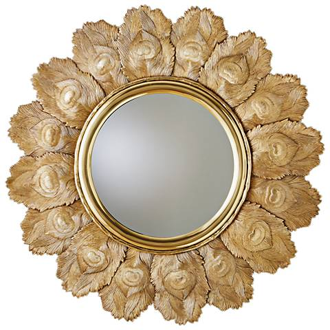 "Peacock Feather Brass 35 1/2"" Round Wall Mirror"