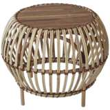 Jory Natural Rattan Indoor-Outdoor Round Wood-Top End Table