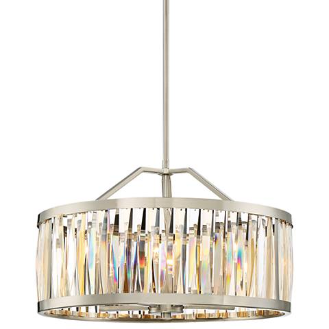 "Quoizel Ballet 20 1/2"" W Brushed Nickel Drum Pendant Light"