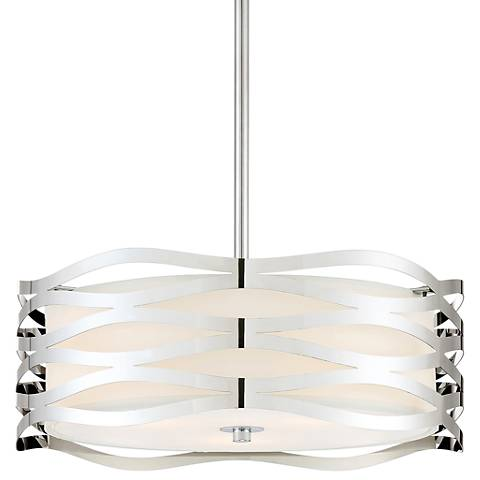 "Quoizel Platinum Mystic 16"" Wide Chrome Drum Pendant Light"