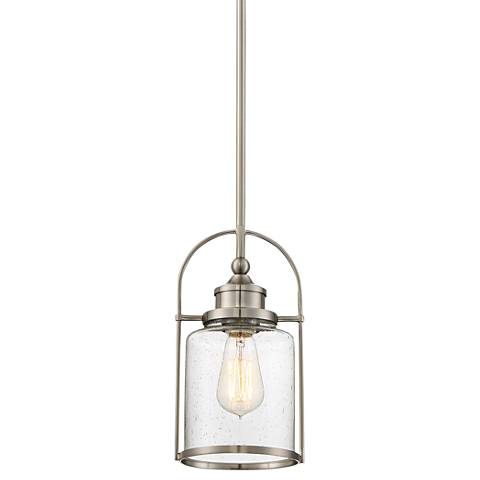 """Quoizel Payson 6 1/2"""" Wide Brushed Nickel Mini Pendant"""