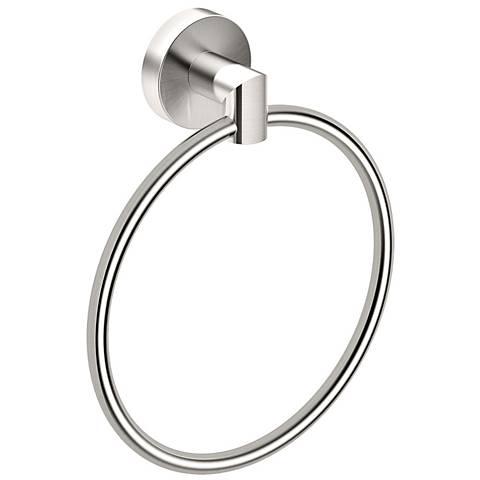 "Gatco Glam Satin Nickel 7 1/2"" High Towel Ring"