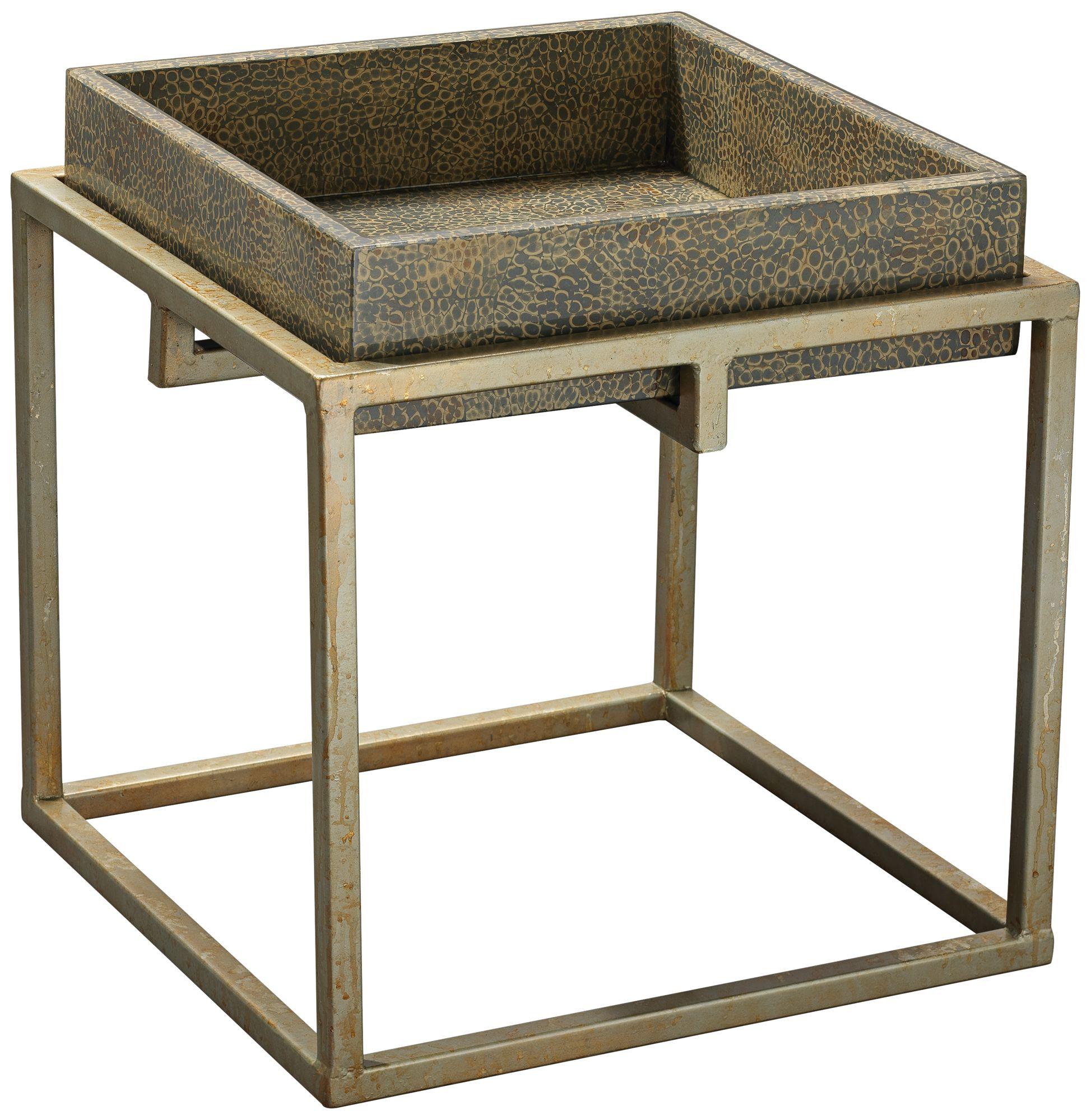 Jamie Young Shelby Gray Eggshell Silver Leaf Accent Table