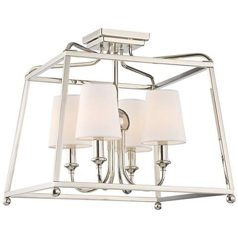 "Crystorama Sylvan 16""W 4-Light Polished Nickel Ceiling Light"
