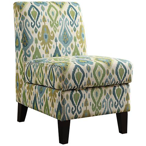 Ollano II Green and Blue Fabric Accent Chair with Storage