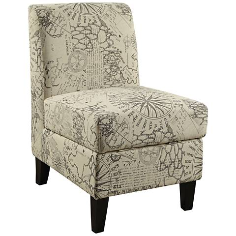 Ollano II Gray and Off-White Fabric Accent Chair w/ Storage